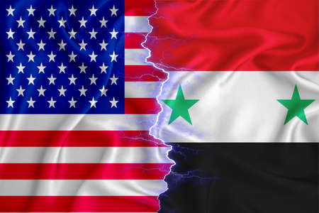 Syria and US flag on zipper crossed textured fabric. The concept of cooperation between the two countries. 3d rendering