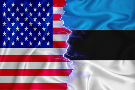 estonia and US flag on zipper crossed textured fabric. The concept of cooperation between the two countries. 3d rendering Archivio Fotografico