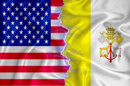 Vatican and US flag on zipper crossed textured fabric. The concept of cooperation between the two countries. 3d rendering