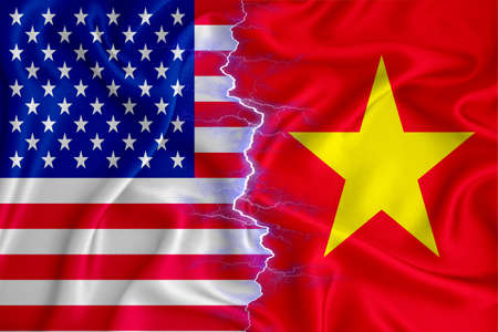 Vietnam and US flag on zipper crossed textured fabric. The concept of cooperation between the two countries. 3d rendering