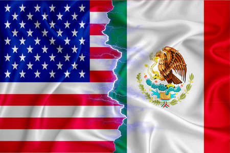 Mexico and US flag on zipper crossed textured fabric. The concept of cooperation between the two countries. 3d rendering
