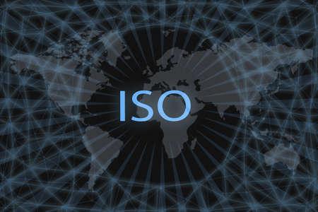 International Organization for Standardization, ISO inscription on a dark background and a world map.