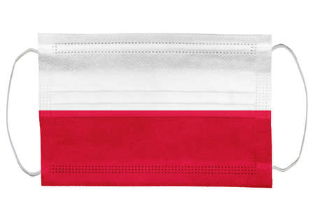 Poland flag on a medical mask. Isolated on a white background. for corona virus or covid-19, protective breathing masks for virus infection, health protection concept, mouth cover, 3D-rendering Stok Fotoğraf
