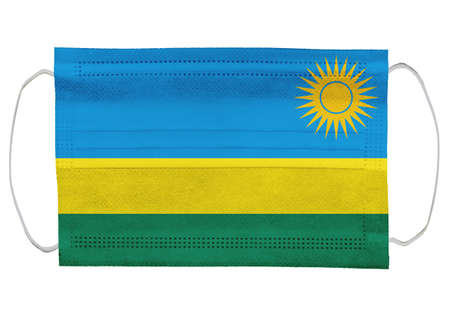 Rwanda flag on a medical mask. Isolated on a white background. for corona virus or covid-19, protective breathing masks for virus infection, health protection concept, mouth cover, 3D-rendering