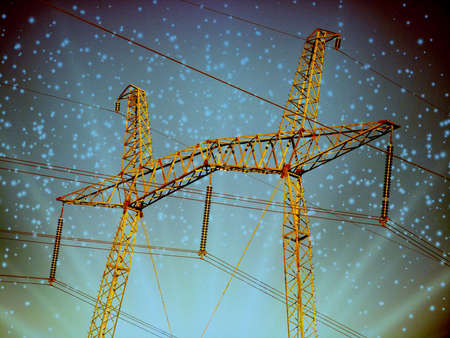 Electric transmission line. Power transmission pylon silhouette against blue sky at dusk. The concept of electrification