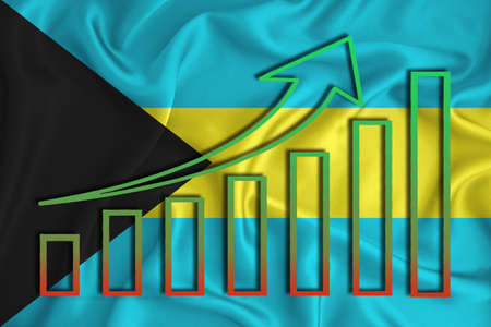 bahamas flag with a graph of price increases for the country's currency. Rising prices for shares of companies and cryptocurrencies. Economic recovery concept. 3D rendering