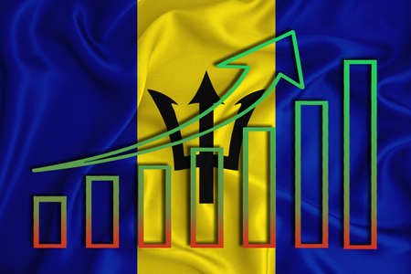Barbados flag with a graph of price increases for the country's currency. Rising prices for shares of companies and cryptocurrencies. Economic recovery concept. 3D rendering