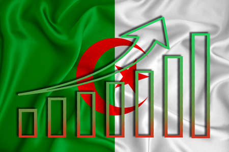 Algeria flag with a graph of price increases for the country's currency. Rising prices for shares of companies and cryptocurrencies. Economic recovery concept. 3D rendering Stock fotó