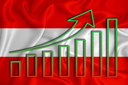 Austria flag with a graph of price increases for the country's currency. Rising prices for shares of companies and cryptocurrencies. Economic recovery concept. 3D rendering