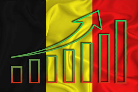Belgium flag with a graph of price increases for the country's currency. Rising prices for shares of companies and cryptocurrencies. Economic recovery concept. 3D rendering