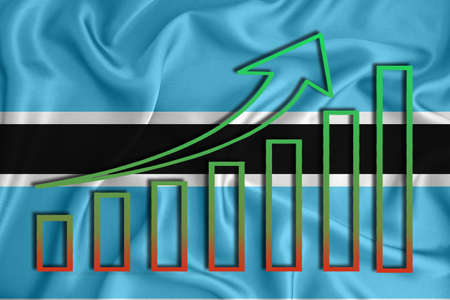 Botswana flag with a graph of price increases for the country's currency. Rising prices for shares of companies and cryptocurrencies. Economic recovery concept. 3D rendering