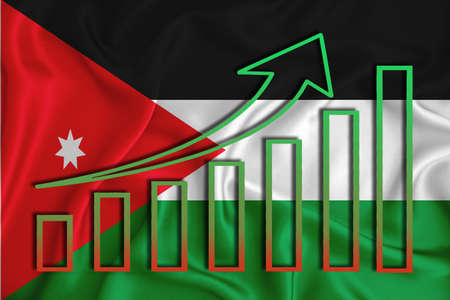 Jordan flag with a graph of price increases for the country's currency. Rising prices for shares of companies and cryptocurrencies. Economic recovery concept. 3D rendering