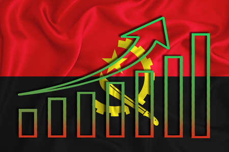 Angola flag with a graph of price increases for the country's currency. Rising prices for shares of companies and cryptocurrencies. Economic recovery concept. 3D rendering Banco de Imagens