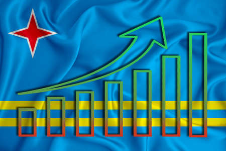 aruba flag with a graph of price increases for the country's currency. Rising prices for shares of companies and cryptocurrencies. Economic recovery concept. 3D rendering