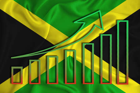 Jamaica flag with a graph of price increases for the country's currency. Rising prices for shares of companies and cryptocurrencies. Economic recovery concept. 3D rendering Banco de Imagens