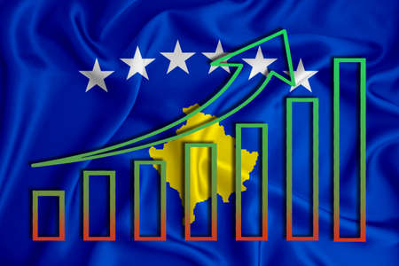 kosovo flag with a graph of price increases for the country's currency. Rising prices for shares of companies and cryptocurrencies. Economic recovery concept. 3D rendering