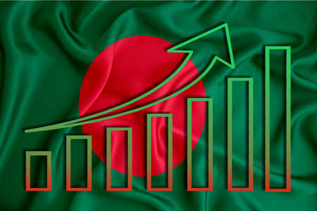 Bangladesh flag with a graph of price increases for the country's currency. Rising prices for shares of companies and cryptocurrencies. Economic recovery concept. 3D rendering
