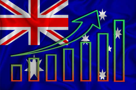 Australia flag with a graph of price increases for the country's currency. Rising prices for shares of companies and cryptocurrencies. Economic recovery concept. 3D rendering
