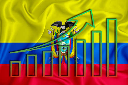 ecuador flag with a graph of price increases for the country's currency. Rising prices for shares of companies and cryptocurrencies. Economic recovery concept. 3D rendering