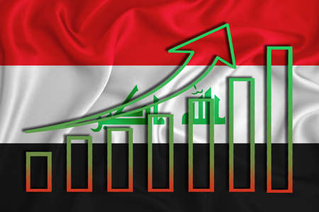 Iraq flag with a graph of price increases for the country's currency. Rising prices for shares of companies and cryptocurrencies. Economic recovery concept. 3D rendering Banco de Imagens
