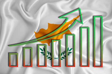 cyprus flag with a graph of price increases for the country's currency. Rising prices for shares of companies and cryptocurrencies. Economic recovery concept. 3D rendering Banco de Imagens
