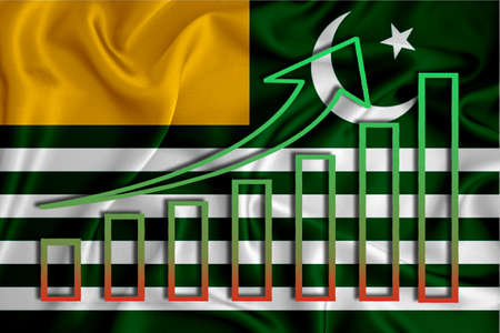 azad kashmir flag with a graph of price increases for the country's currency. Rising prices for shares of companies and cryptocurrencies. Economic recovery concept. 3D rendering Stock fotó