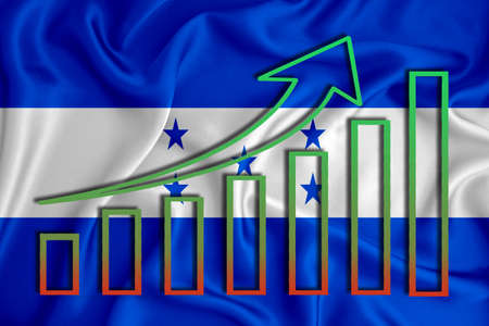 Honduras flag with a graph of price increases for the country's currency. Rising prices for shares of companies and cryptocurrencies. Economic recovery concept. 3D rendering
