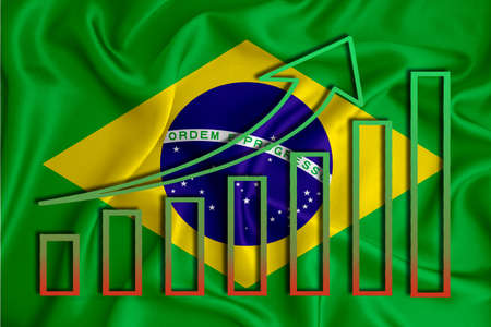 Brazil flag with a graph of price increases for the country's currency. Rising prices for shares of companies and cryptocurrencies. Economic recovery concept. 3D rendering