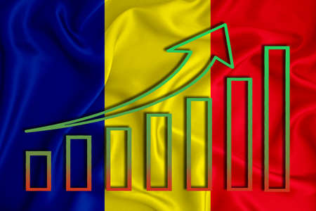 Chad flag with a graph of price increases for the country's currency. Rising prices for shares of companies and cryptocurrencies. Economic recovery concept. 3D rendering