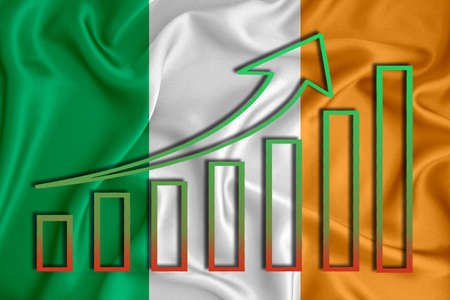 Ireland flag with a graph of price increases for the country's currency. Rising prices for shares of companies and cryptocurrencies. Economic recovery concept. 3D rendering Banco de Imagens