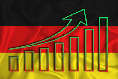 germany flag with a graph of price increases for the country's currency. Rising prices for shares of companies and cryptocurrencies. Economic recovery concept. 3D rendering Banco de Imagens