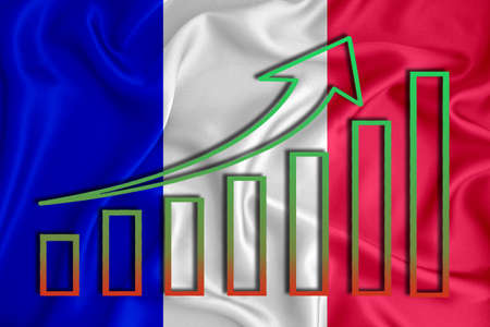 France flag with a graph of price increases for the country's currency. Rising prices for shares of companies and cryptocurrencies. Economic recovery concept. 3D rendering Banco de Imagens