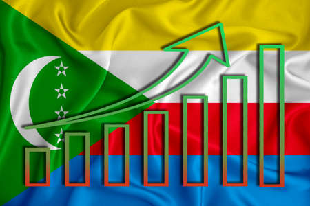 comores flag with a graph of price increases for the country's currency. Rising prices for shares of companies and cryptocurrencies. Economic recovery concept. 3D rendering Stock fotó