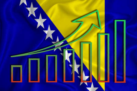 bosnia and herzegovina flag with a graph of price increases for the country's currency. Rising prices for shares of companies and cryptocurrencies. Economic recovery concept. 3D rendering Banco de Imagens