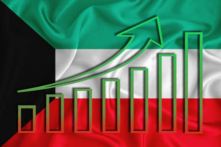 kuwait flag with a graph of price increases for the country's currency. Rising prices for shares of companies and cryptocurrencies. Economic recovery concept. 3D rendering