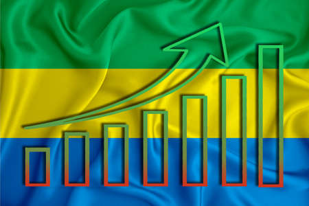Gabon flag with a graph of price increases for the country's currency. Rising prices for shares of companies and cryptocurrencies. Economic recovery concept. 3D rendering
