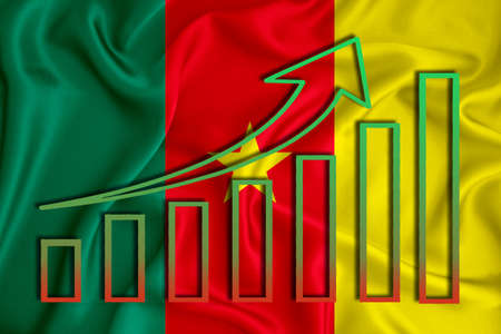 Cameroon flag with a graph of price increases for the country's currency. Rising prices for shares of companies and cryptocurrencies. Economic recovery concept. 3D rendering Banco de Imagens