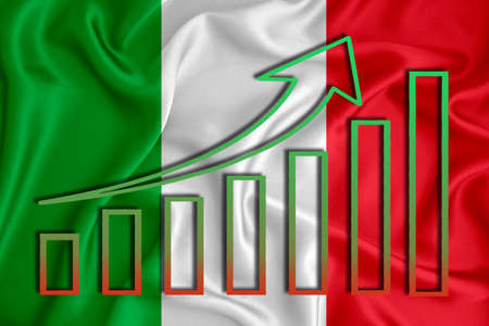 Italy flag with a graph of price increases for the country's currency. Rising prices for shares of companies and cryptocurrencies. Economic recovery concept. 3D rendering Banco de Imagens