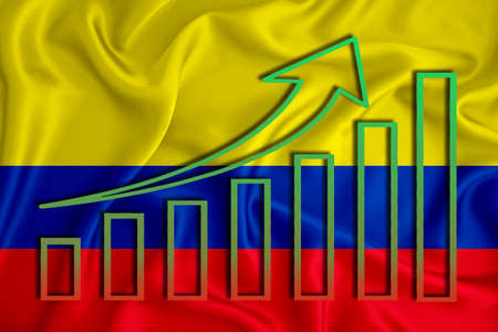 colombia flag with a graph of price increases for the country's currency. Rising prices for shares of companies and cryptocurrencies. Economic recovery concept. 3D rendering Stock fotó