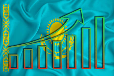 Kazakhstan flag with a graph of price increases for the country's currency. Rising prices for shares of companies and cryptocurrencies. Economic recovery concept. 3D rendering Banco de Imagens