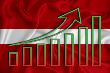 Latvia flag with a graph of price increases for the country's currency. Rising prices for shares of companies and cryptocurrencies. Economic recovery concept. 3D rendering