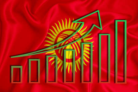 Kyrgyzstan flag with a graph of price increases for the country's currency. Rising prices for shares of companies and cryptocurrencies. Economic recovery concept. 3D rendering Banco de Imagens