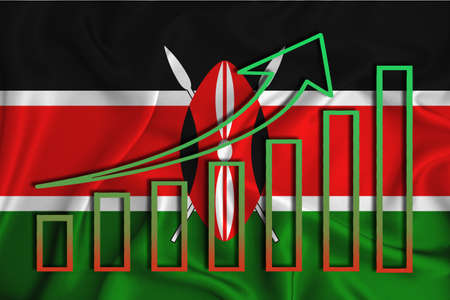 kenya flag with a graph of price increases for the country's currency. Rising prices for shares of companies and cryptocurrencies. Economic recovery concept. 3D rendering