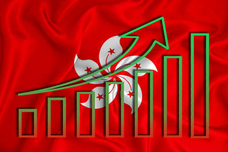 Hong Kong flag with a graph of price increases for the country's currency. Rising prices for shares of companies and cryptocurrencies. Economic recovery concept. 3D rendering