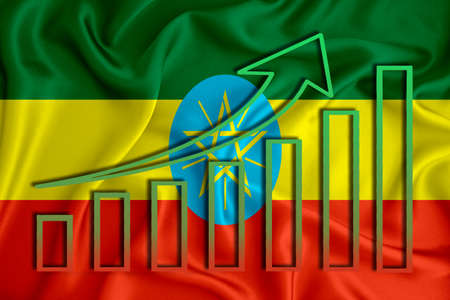ethiopia flag with a graph of price increases for the country's currency. Rising prices for shares of companies and cryptocurrencies. Economic recovery concept. 3D rendering Stock fotó
