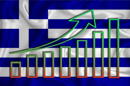 Greece flag with a graph of price increases for the country's currency. Rising prices for shares of companies and cryptocurrencies. Economic recovery concept. 3D rendering