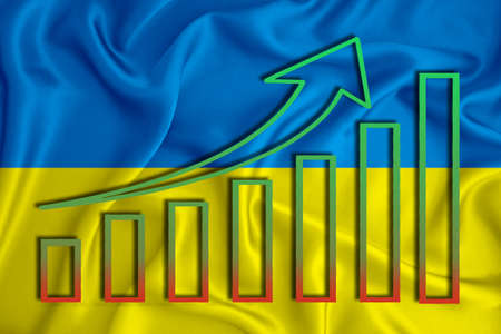 Ukraine flag with a graph of price increases for the country's currency. Rising prices for shares of companies and cryptocurrencies. Economic recovery concept. 3D rendering