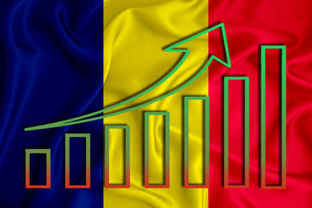 Romania flag with a graph of price increases for the country's currency. Rising prices for shares of companies and cryptocurrencies. Economic recovery concept. 3D rendering