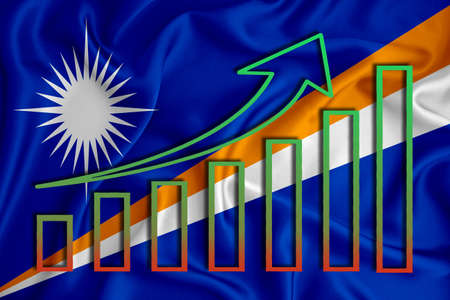 Marshall Islands flag with a graph of price increases for the country's currency. Rising prices for shares of companies and cryptocurrencies. Economic recovery concept. 3D rendering Stock fotó