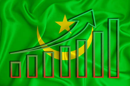mauritania flag with a graph of price increases for the country's currency. Rising prices for shares of companies and cryptocurrencies. Economic recovery concept. 3D rendering